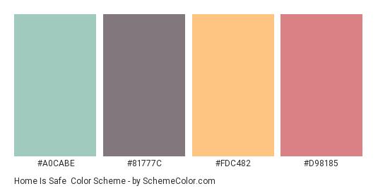 Home is Safe - Color scheme palette thumbnail - #a0cabe #81777c #fdc482 #d98185
