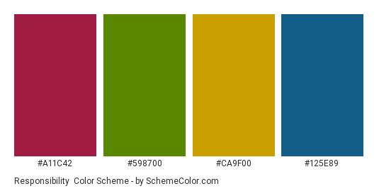 Responsibility - Color scheme palette thumbnail - #a11c42 #598700 #ca9f00 #125e89