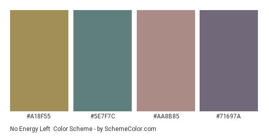 No Energy Left - Color scheme palette thumbnail - #a18f55 #5e7f7c #aa8b85 #71697a