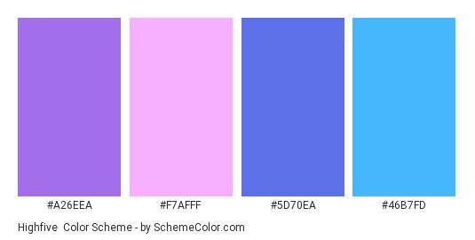 Highfive - Color scheme palette thumbnail - #a26eea #f7afff #5d70ea #46b7fd
