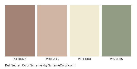 Dull Secret - Color scheme palette thumbnail - #a38375 #D0B6A2 #efecd3 #929C85