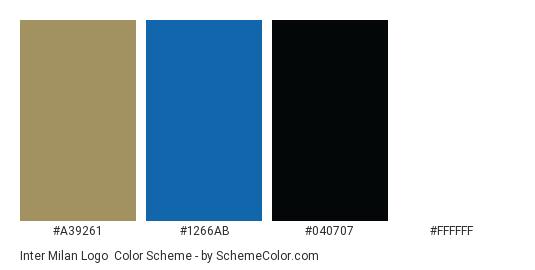 Inter Milan Logo - Color scheme palette thumbnail - #a39261 #1266ab #040707 #ffffff