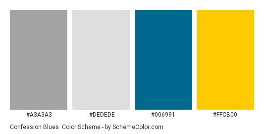 Confession Blues - Color scheme palette thumbnail - #a3a3a3 #dedede #006991 #ffcb00