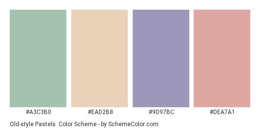 Old-style Pastels - Color scheme palette thumbnail - #a3c3b0 #ead2b8 #9d97bc #dea7a1