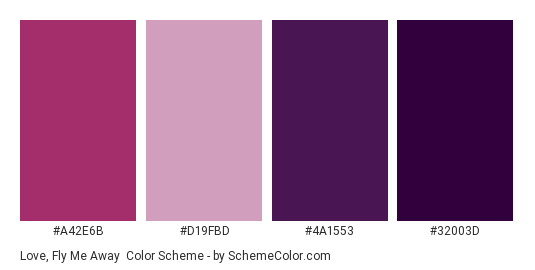 Love, Fly Me Away - Color scheme palette thumbnail - #a42e6b #d19fbd #4a1553 #32003d