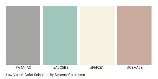 Low Voice - Color scheme palette thumbnail - #a4a4a3 #a0c5bb #f6f2e1 #cbaa9e