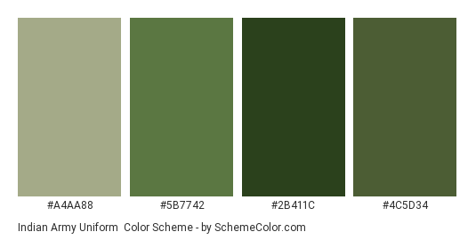 Indian Army Uniform Color Scheme Green SchemeColor