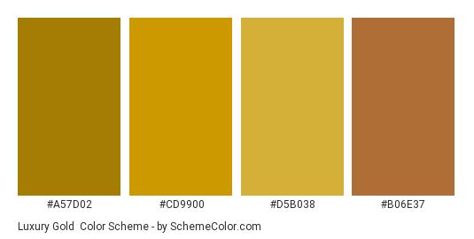 Luxury Gold - Color scheme palette thumbnail - #a57d02 #cd9900 #d5b038 #b06e37