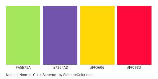 Nothing Normal - Color scheme palette thumbnail - #a5e75a #7254ad #ffd606 #ff093d