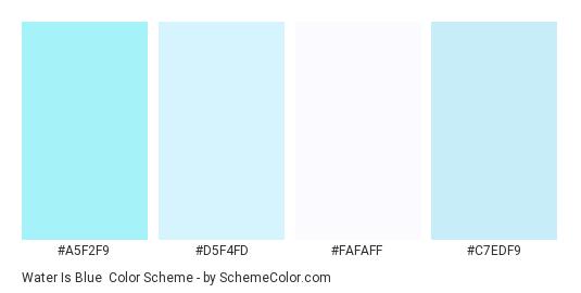 Water is Blue - Color scheme palette thumbnail - #a5f2f9 #d5f4fd #fafaff #c7edf9