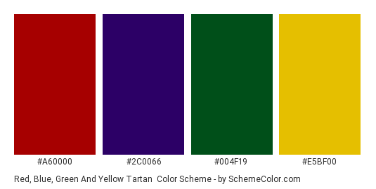 Red Blue Green And Yellow Tartan Color Scheme Palette Thumbnail A60000