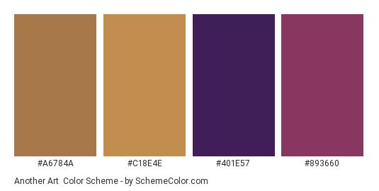 Another Art - Color scheme palette thumbnail - #a6784a #c18e4e #401e57 #893660