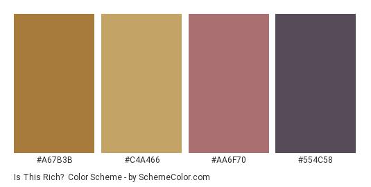 Is This Rich? - Color scheme palette thumbnail - #a67b3b #c4a466 #aa6f70 #554c58