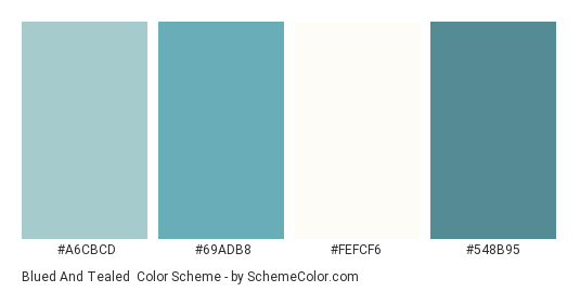 Blued and Tealed - Color scheme palette thumbnail - #a6cbcd #69adb8 #fefcf6 #548b95