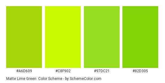 Matte Lime Green - Color scheme palette thumbnail - #a6d609 #c8f902 #97dc21 #82d305