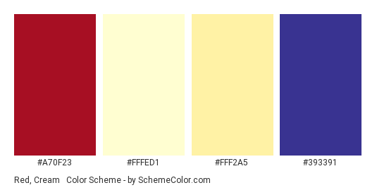 Red, Cream & Blue - Color scheme palette thumbnail - #a70f23 #fffed1 #fff2a5 #393391