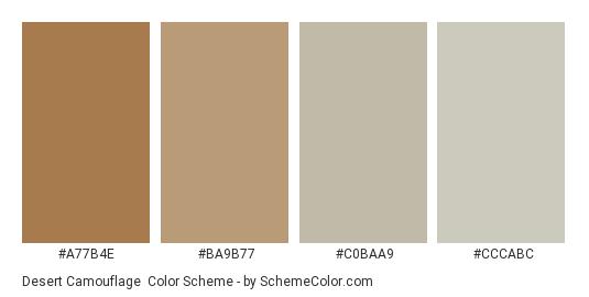 Desert Camouflage - Color scheme palette thumbnail - #a77b4e #ba9b77 #c0baa9 #cccabc