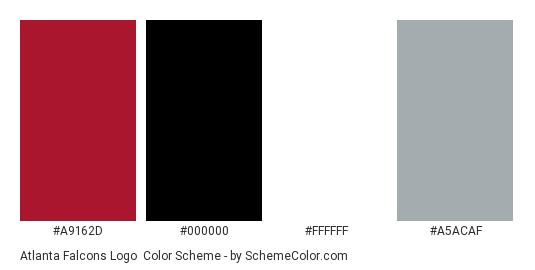 Atlanta Falcons Logo - Color scheme palette thumbnail - #a9162d #000000 #ffffff #a5acaf