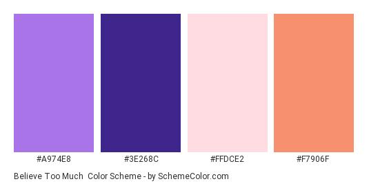 Believe Too Much - Color scheme palette thumbnail - #a974e8 #3e268c #ffdce2 #f7906f
