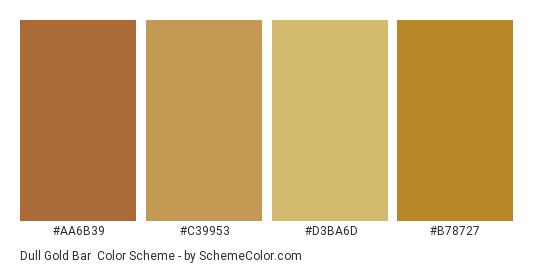 Dull Gold Bar - Color scheme palette thumbnail - #aa6b39 #c39953 #d3ba6d #b78727