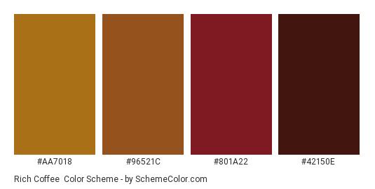 Rich Coffee - Color scheme palette thumbnail - #aa7018 #96521c #801a22 #42150e