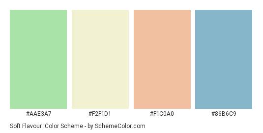 Soft Flavour - Color scheme palette thumbnail - #aae3a7 #f2f1d1 #f1c0a0 #86b6c9