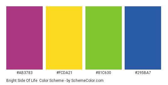 Bright Side of Life - Color scheme palette thumbnail - #ab3783 #FCDA21 #81C630 #295BA7