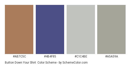 Button Down Your Shirt - Color scheme palette thumbnail - #ab7c5c #4b4f85 #c1c4be #a5a59a