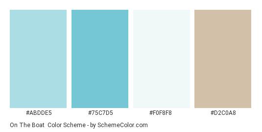 On the Boat - Color scheme palette thumbnail - #abdde5 #75c7d5 #f0f8f8 #d2c0a8