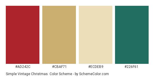 Simple Vintage Christmas - Color scheme palette thumbnail - #ad242c #cbaf71 #ecdeb9 #226f61