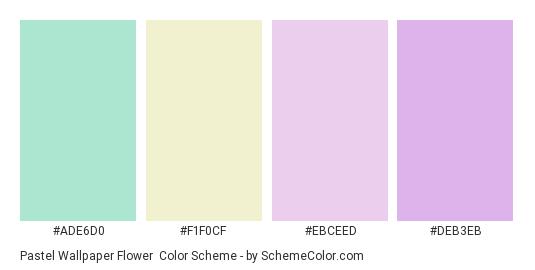 Pastel Wallpaper Flower - Color scheme palette thumbnail - #ade6d0 #f1f0cf #ebceed #deb3eb