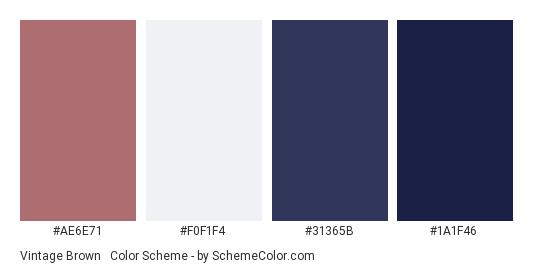 Vintage Brown Blue Color Scheme Palette Thumbnail Ae6e71 F0f1f4 31365b