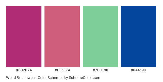 Weird Beachwear - Color scheme palette thumbnail - #b02d74 #ce5e7a #7ece98 #04469d