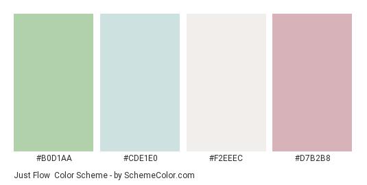 Just Flow - Color scheme palette thumbnail - #b0d1aa #cde1e0 #f2eeec #d7b2b8