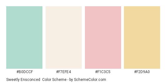 Sweetly Ensconced - Color scheme palette thumbnail - #b0dccf #f7efe4 #f1c3c5 #f2d9a0