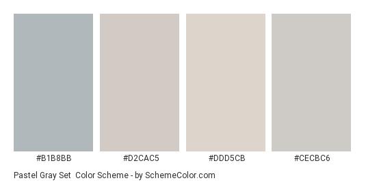 Pastel Gray Set - Color scheme palette thumbnail - #b1b8bb #d2cac5 #ddd5cb #cecbc6
