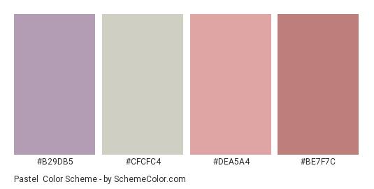 Pastel - Color scheme palette thumbnail - #b29db5 #cfcfc4 #dea5a4 #be7f7c