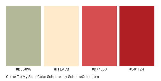 Come To My Side - Color scheme palette thumbnail - #b3b898 #ffeacb #d74e50 #b01f24