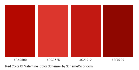 Red Color of Valentine - Color scheme palette thumbnail - #b40800 #dc362d #c21912 #8f0700