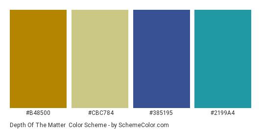 Depth of the Matter - Color scheme palette thumbnail - #b48500 #cbc784 #385195 #2199a4