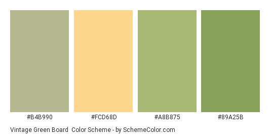 Vintage Green Board - Color scheme palette thumbnail - #b4b990 #fcd68d #a8b875 #89a25b