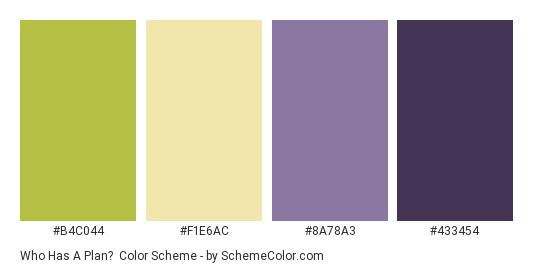Who has a Plan? - Color scheme palette thumbnail - #b4c044 #f1e6ac #8a78a3 #433454