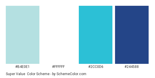 Super Value - Color scheme palette thumbnail - #b4e0e1 #ffffff #2cc0d6 #244588