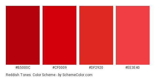 Reddish Tones - Color scheme palette thumbnail - #b5000c #cf0009 #df2920 #ee3e40