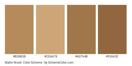 Matte Wood - Color scheme palette thumbnail - #b58b5b #cda678 #a0764b #92663e