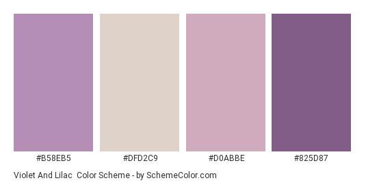 Violet and Lilac - Color scheme palette thumbnail - #b58eb5 #dfd2c9 #d0abbe #825d87