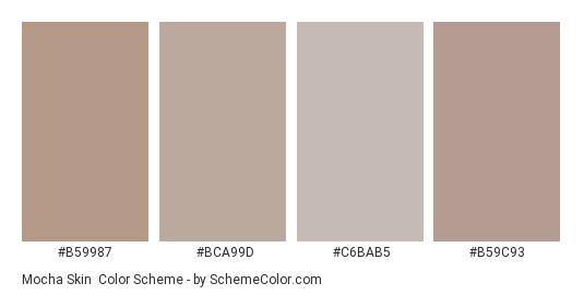 Mocha Skin - Color scheme palette thumbnail - #b59987 #bca99d #c6bab5 #b59c93