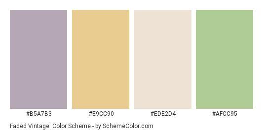 Faded Vintage - Color scheme palette thumbnail - #b5a7b3 #e9cc90 #ede2d4 #afcc95
