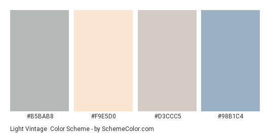 Light Vintage - Color scheme palette thumbnail - #b5bab8 #f9e5d0 #d3ccc5 #98b1c4