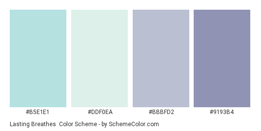 Lasting Breathes - Color scheme palette thumbnail - #b5e1e1 #ddf0ea #bbbfd2 #9193b4